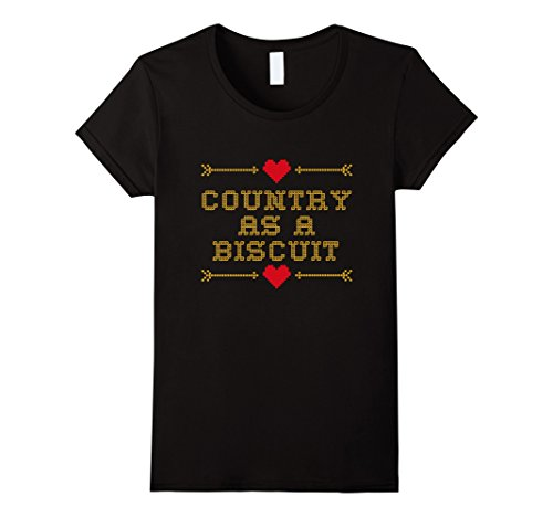Womens Country as a Biscuit summer t-shirt Large Black (Country Biscuit)