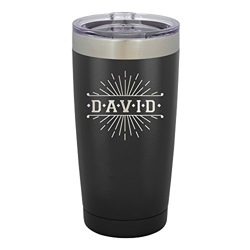 Personalized Insulated Mugs (Froolu Stainless Steel Travel Coffee Mug - Black Personalized Laser Engraved Tumbler - Hydro Travel Cup Flask)