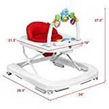 BABY JOY Baby Walker, 2 in 1 Foldable Activity Walk Behind Walker with Adjustable Height & Speed, Friction Control Functions, High Back Padded Seat, Music, Detachable Penguin Play Bar