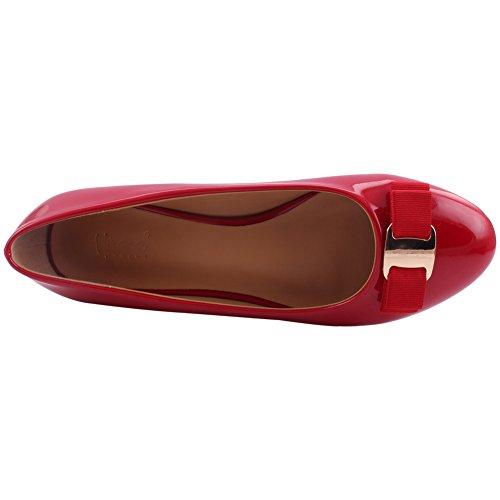Decorado Las Unze De 3 Vestido Bombas Tamaño Mujeres Tara 8 Rojo Patente Formal Uk Noche AtAwUxpd