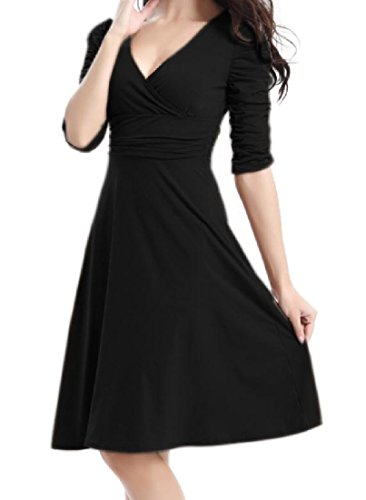 Collo Elegante Nero Comodo A Vestito Altalena Del donne Profonde Solido Coolred v Metà Lunghezza OFxItwT