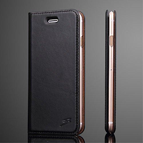 Oil Wax Genuine Leather Card Slot Stand Tasche Hüllen Schutzhülle Case für iPhone 7 Plus 5.5 - schwarz