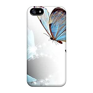 [PGm11740NKAh]premium Phone Cases For Iphone 5/5s/ Blue Rose Butterflies Cases Covers