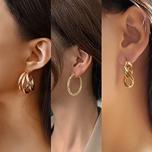 CHANBO 6 Pairs Women's Anti-allergic Thick Opening Jewelry Gold Chunky Hoop Earring Set for Birthday/Christmas Gifts
