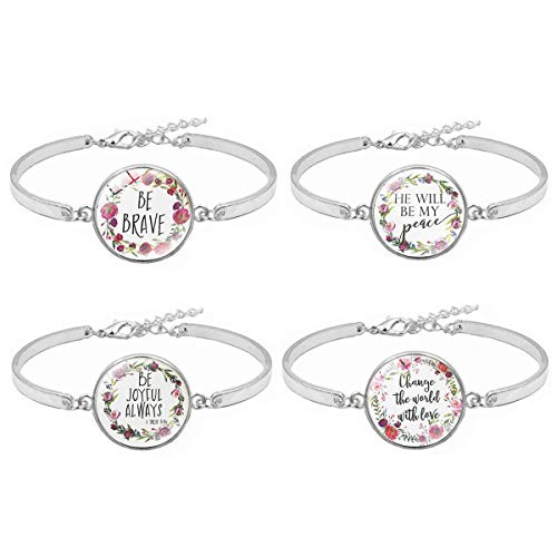 4 Set Bible Verse Motivational Inspirational Expandable Glass Flower Gemstone Pendant Bangle Cuff For Girls Christian Religious Jewelry Gifts (2)