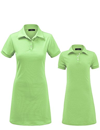MBJ Kids KDR1511 Mommy and Me Short Sleeve Polo Dress - Made in USA KM Mint by MBJ Kids