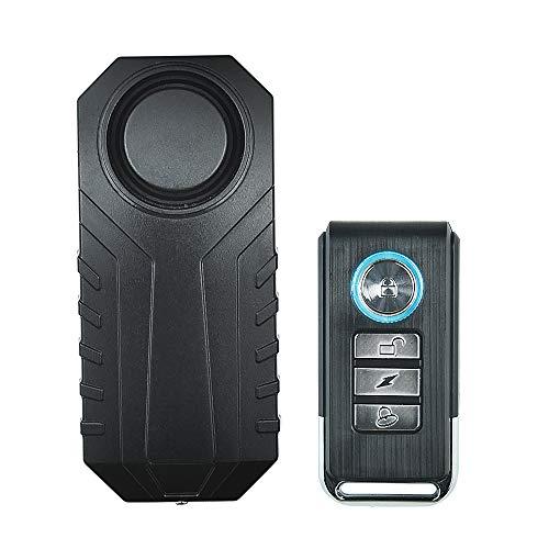 Alarm Vibration Sensor - WiHoo 113dB Wireless Motorcycle Bike Alarm,Security Vehicel Anti-Theft Vibration Alarm Bicycle Alarm IP 55 Waterproof with Remote Adjustable Sensitivity Windows/Door Alarm Vibration Sensors (Black)