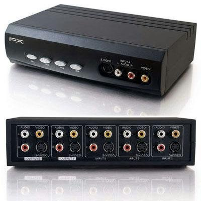 2CJ6629 - C2G 4x2 S-Video + Composite Video + Stereo Audio Selector Switch