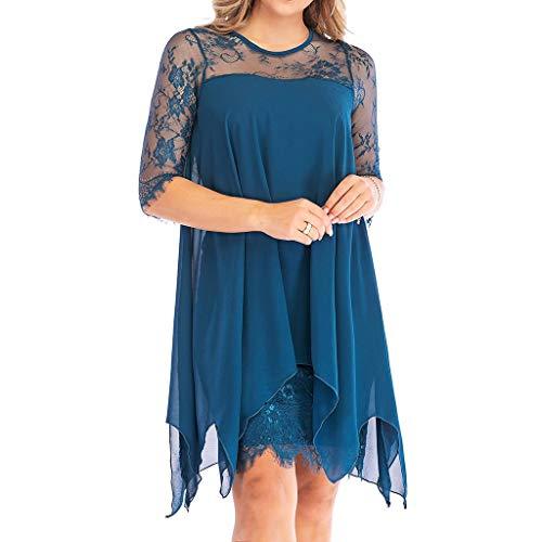 Women Lace Plus Size Dress Chiffon Overlay Three Quarter Sleeve Dress Denim Blue