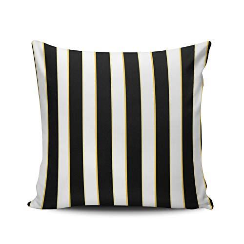 Gold Pillowcase Striped (Fanaing Black White Gold Striped Pattern Pillowcase Home Sofa Decorative 26X26 Inch European Throw Pillow Case Decor Cushion Covers Double Sided Printed)