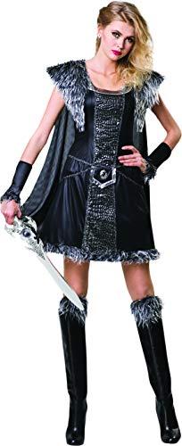Bristol Novelty Medieval Warrior Princess Costume Women, Black/Grey, One Size ()
