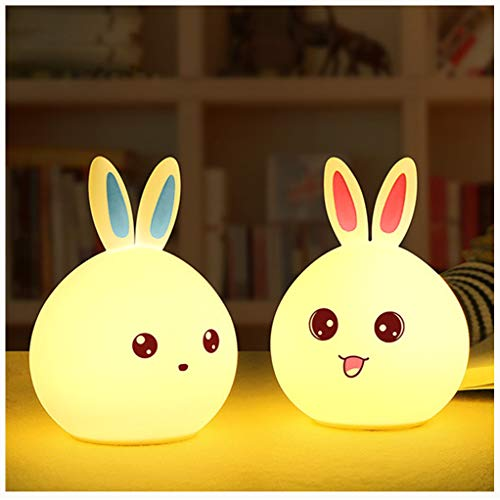 HNFYJQ New Rabbit LED Night Light for Children Baby Kids Bedside Lamp Multicolor Silicone Touch Bunny USB Control Nightlight,Cute,Button