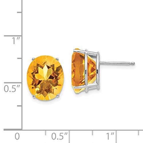 14k White Gold 12x10mm Oval Citrine Earrings. Gem Wt- 9.04ct (0.4IN x 0.3IN)