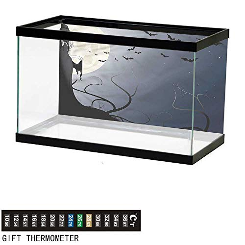 bybyhome Fish Tank Backdrop Halloween,Witch in Twilight on High,Aquarium Background,48