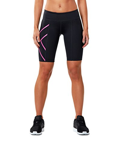 2xu Womens Mid-rise Athletic Compression Shorts, Black/cerise Pink, Small by 2XU (Image #1)