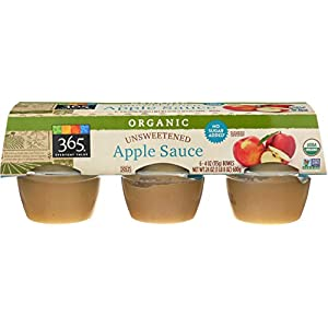 365 Everyday Value, Organic Apple Sauce, Unsweetened (6 – 4 oz bowls), 24 oz