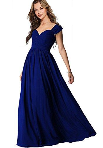 Robes De Bal En Mousseline De Soie En Dentelle Pour Aurorales Femmes De Mariée Robe De Demoiselle D'honneur À Long A037 Bleu Royal