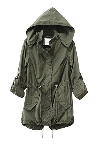 Vedem Women's Hooded Drawstring Military Jacket Parka Coat Army Green (M)
