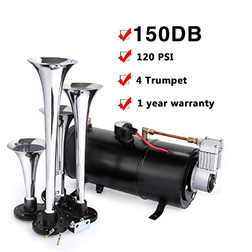 Schafter 150DB Air Horn Car Truck Train Chrome 4 Trumpet Train Air Horn 12V 150 PSI Compressor