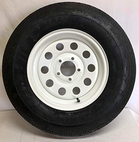 New Old Stock 14 Inch White Mod 5 on 4.5 Trailer Wheel with Radial ST205 75R14