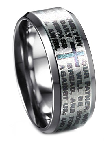 LineAve+Men%27s+Stainless+Steel+Our+Father+Lord%27s+Prayer+Ring+8mm+Wedding+Band%2C+Size+8%2C+1z5020s08