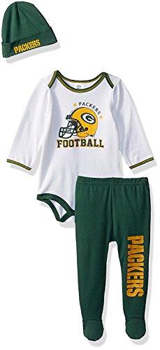 NFL Green Bay Packers Boys Bodysuit Pants & Cap Set, 6-9 Months, Green