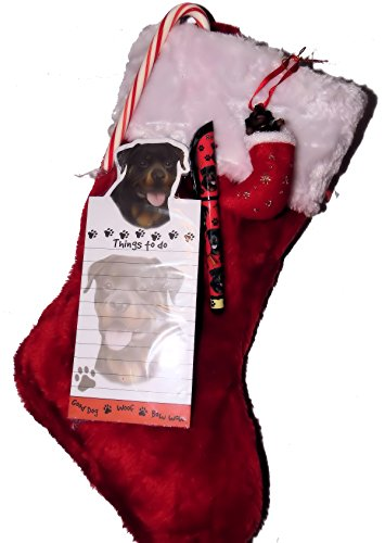 Thundles Rottweiler Dog Christmas Stocking Gift Set with Matching Ornament, Notepad & Pen & a Candy Cane ()