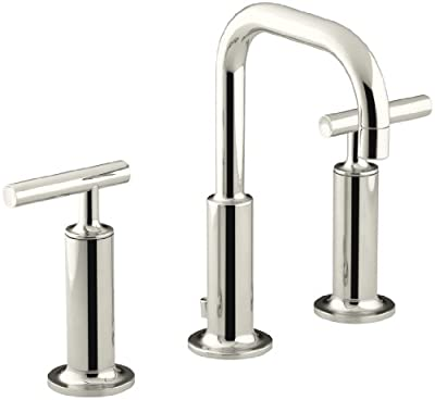 KOHLER K-14407-4-SN Purist Widespread Bathroom Sink Faucet with High Lever Handles and Low Gooseneck Spout, Vibrant Polished Nickel