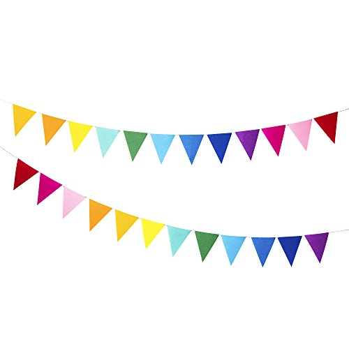 12 Pcs/ 8.2 Feet Felt Fabric Banner Multicolor Rainbow Triangle Bunting Flags, Decoration Banners for Birthday Party, Baby Shower, Window decorations and Children's living room (Rainbow Bunting)
