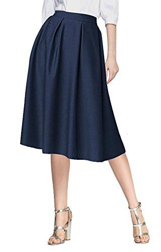 Haute ligne Goco Taille Midi A Femmes Urban Poches Plissée Avec Jupe Bleu Vintage Marine De Longue pwHqTnx