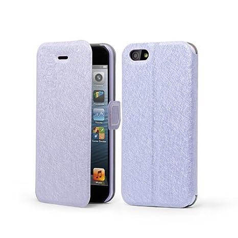 HKCFCASE Funda de cuero Cartera Carcasa Tapa Case Cover Para Apple iPhone 5 5G 5S Morado