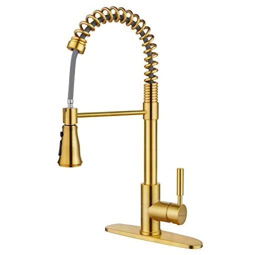 Farmhouse Kitchen SOKA Gold Kitchen Faucet Commercial Pull Out Kitchen Faucets Gold Single Handle Kitchen Sink Faucet with Pull Down… farmhouse sink faucets