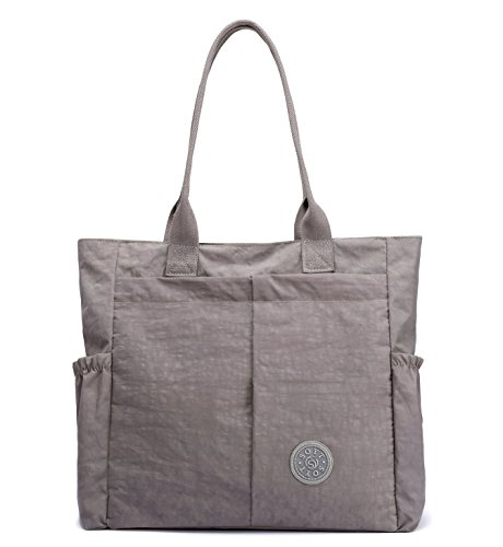 Nylon Water Resistant Multi Pockets Large Lightweight Tote Bag Shoulder Bag Waterproof Handbags (LightGray HB) by MORHUA