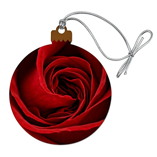 Graphics and More Red Rose Close-up Wood Christmas Tree Holiday Ornament