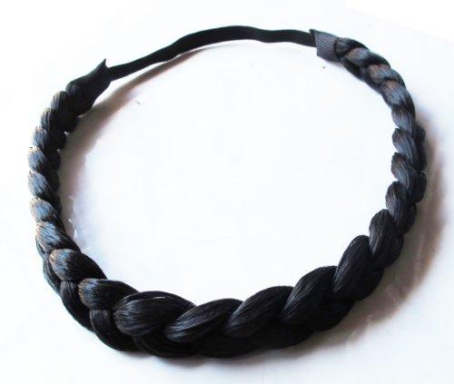 Headband Fashion Elastic Stretch Synthetic Hair Braid Braided Headband Color Black (1 Pcs.)