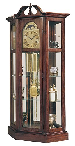 Ridgeway 9701 Richardson I Grandfather Clock, Antique Cherry Curio Cabinet Floor Clock