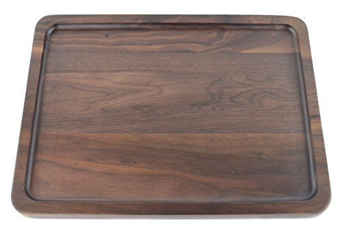 Samyo Black Walnut Solid Wood Rectangular Tableware Serving Tray Handcrafted Decorative Trays Food Tray Serving Platters with gripper for Coffee Wine Cocktail Fruit Meals (Large Size) by SAMYO (Image #1)