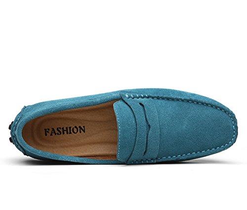 Icegrey Hommes Passant Conduite Chaussures Suède Flâneurs Bleu Ciel 49