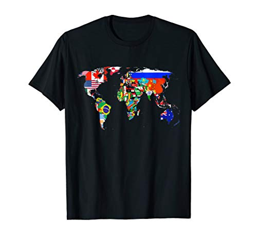 - World Map Country Flag Atlas T-Shirt