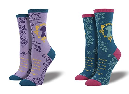69be54e8b SockSmith Jane Austen WNC717, Steel Blue and Lavender Heather, Combo 2 Pack  (writer