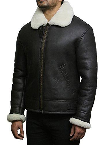 Pelle Pecora Uomo Leather Pilot Bomber Crema Brandslock Shearling Di Real Aviator B3 Jacket dAqBXw0x