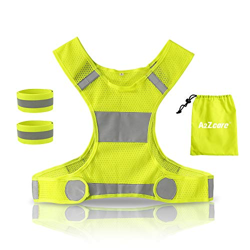 A2ZCARE Reflective Running Vest with Reflective Wristbands | High Visibility & Ultralight Safety Gear for Running, Walking, Cycling - Neon Yellow & Mesh Carry Bag (1 Vest (L) + 2 Wristbands)