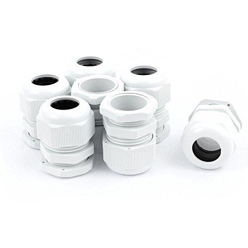 eDealMax PG21 Compression étanche Farce 13-18mm 7pcs Cable Glands Blanc -