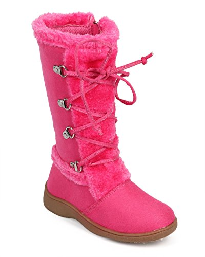 Little Angel DC45 Suede Fur Lace Up Zip Winter Boot (Toddler/ Little Girl/ Big Girl) - Hot Pink (Size: Big Kid (Hot Pink Love Boots)