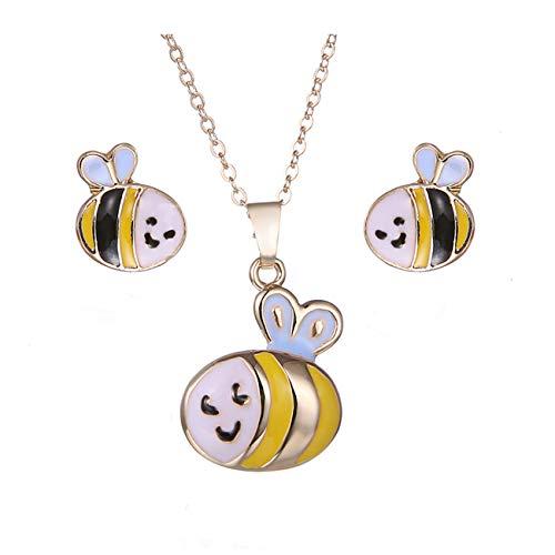 [해외]Bigsweety 쥬얼리 세트 모델 귀여운 동물 목걸이와 귀걸이 여자 소녀 아이, 꿀벌 / Bigsweety Jewelry Set Model Cute Animal Necklace and Earrings Female Girl Child, Bee