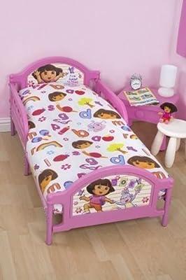 Dora the Explorer Alphabet 4in1 Junior Cot Bed Duvet Set Pillow Bundle Bedding