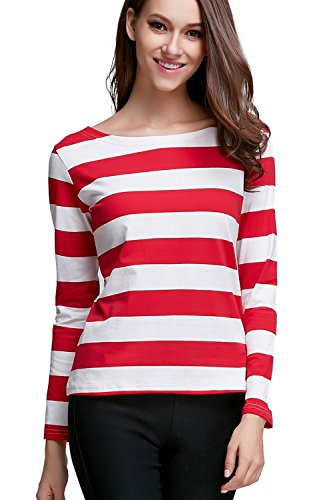 [OUGES Tops,T-Shirt for Womens,Long Sleeve,Striped Pattern,Red White Stripe,Large] (Robber Costumes)
