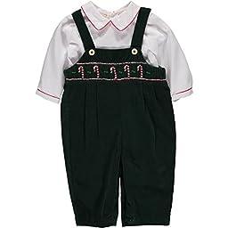 Baby Boy Hand Smocked Corduroy Overall w Holiday Shirt Christmas 9M