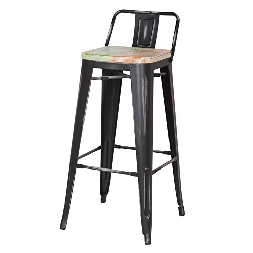 Joveco 30 Inches Industrial Chic Distressed Metal Bar Stool with Low Back, Set of 2 Black with White Seat