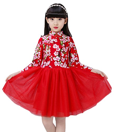 Soojun Kids Girls Long Sleeve Frog Button Cheongsam Dress Chinese Qipao Floral Tutu, 12 Peach Red, 7-8 Years